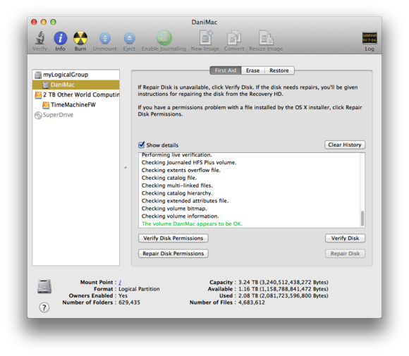 Disk Utility disk check