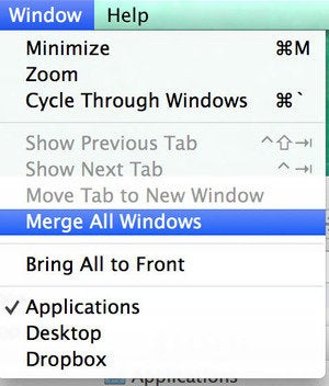 Merge All Windows in Mavericks