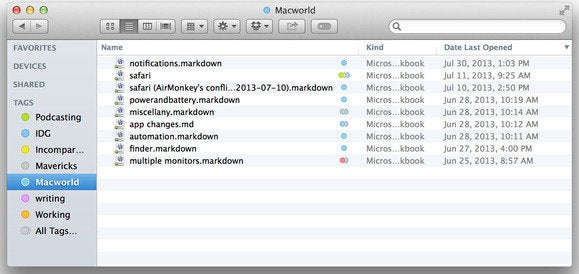 Filtering tags in Mavericks