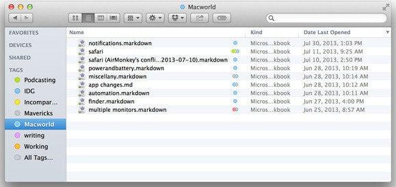 Filtering tags in Mavericks