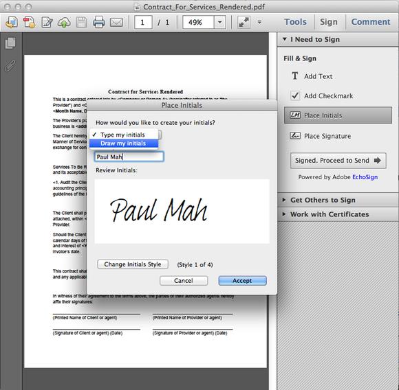 Adobe PDF signature