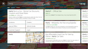 Bing Search for hertz, Windows 8