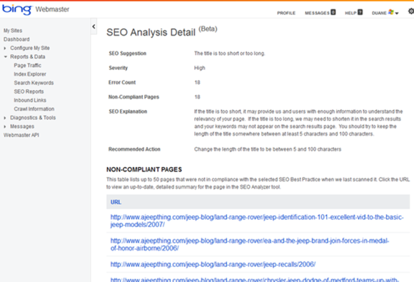 BING Webmaster SEO reports