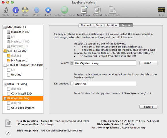 Disk Utility to make a bootable Mavericks installer drive