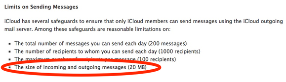 iCloud email-attachment limitation