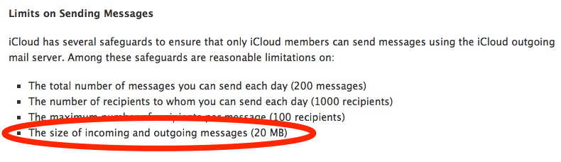 email file size limit