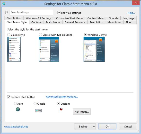 Classic Shell 4.0 screenshot