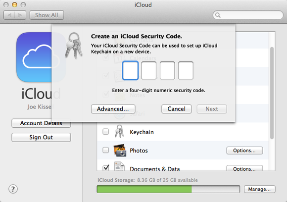 Pick a four-digit security code to protect your iCloud keychain. iCloud  will warn you if your code is too easy to guess 630a5391f