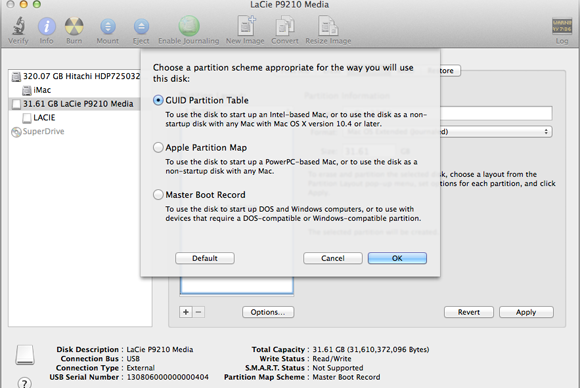 mac os disk utility guid partition table
