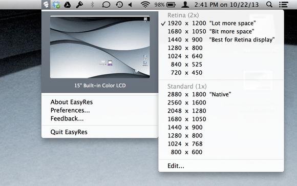 EasyRes 1.0 menubar