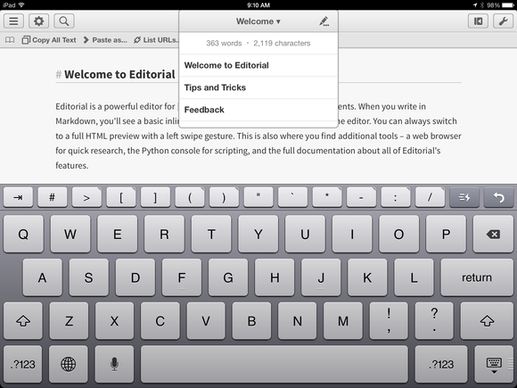 The extra keyboard row in Editorial for iPad