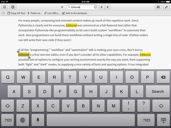 Search results in Editorial for iPad