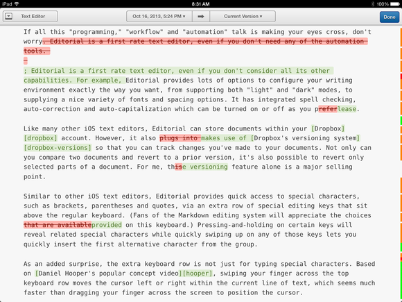 Versioning in Editorial for iPad