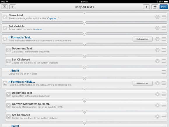 Workflows in Editorial for iPad
