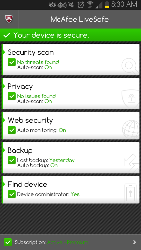 mcafee mobile security android subscription key