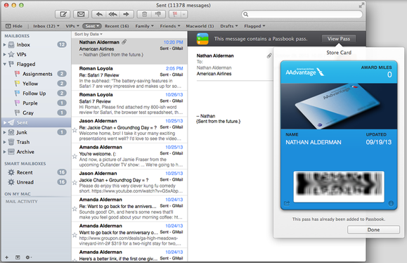 Passbook passes in Mail 7.0