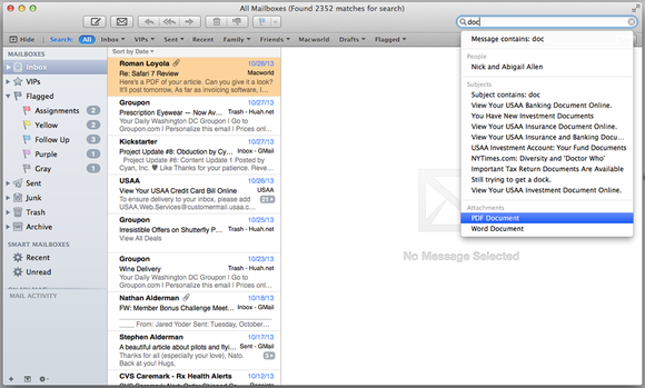 Searching attachments in Mail 7.0