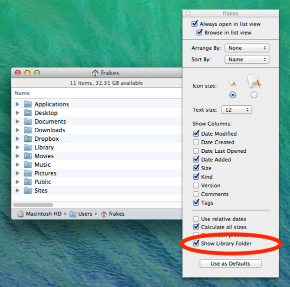 Mavericks Library folder visibility setting