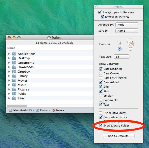 Mavericks Library folder visibility setting