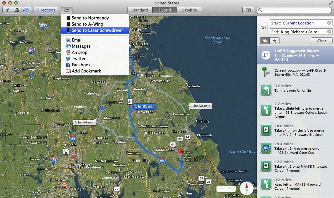 Get to know os x mavericks maps macworld among the best features of maverickss maps app is the ability to send directions right to your ios 7 device gumiabroncs Gallery