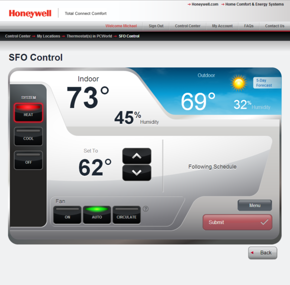 Honey programmable thermostat web portal