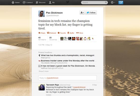 Pax Dickinson offensive tweet