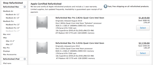 Apple Refurbished Mac Pros for sale