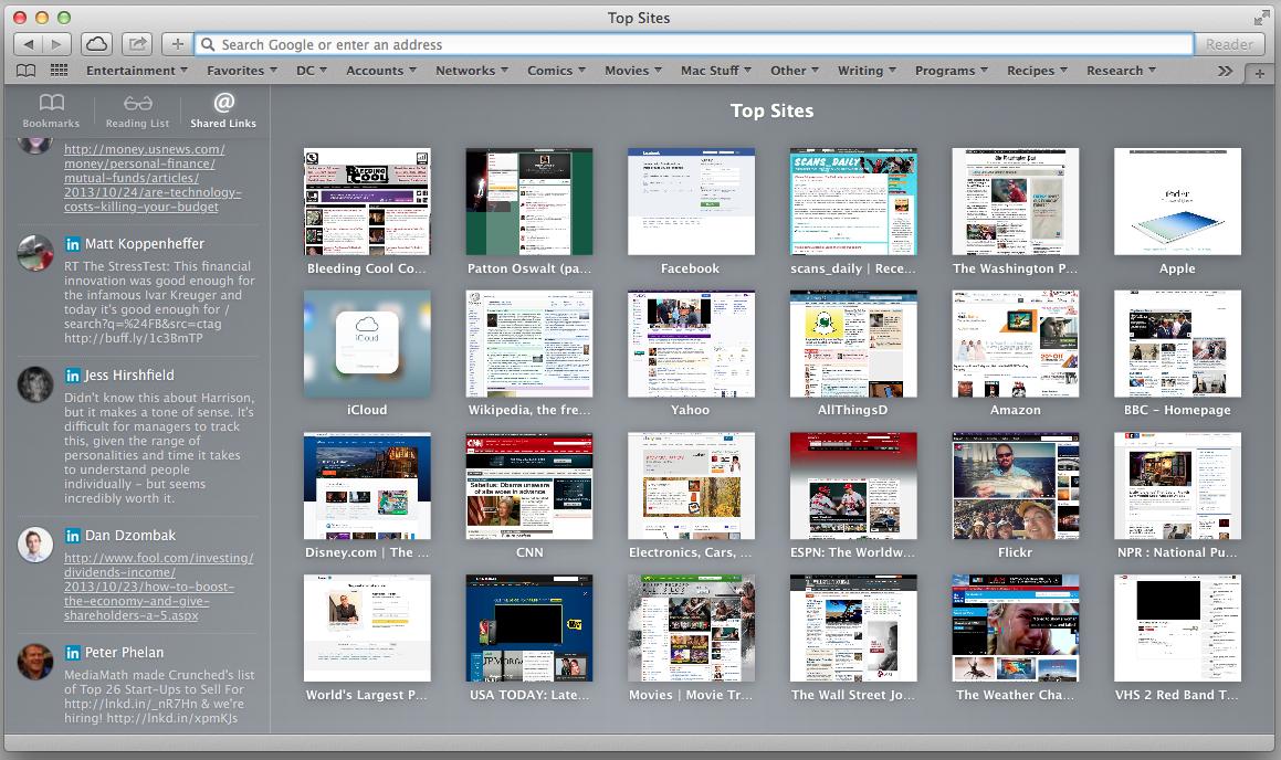 Safari for Mac OS X screenshot