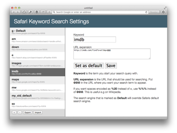 Safari Keyword Search review: Searching made simple and