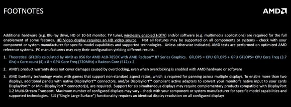 AMD Kaveri footnote specs