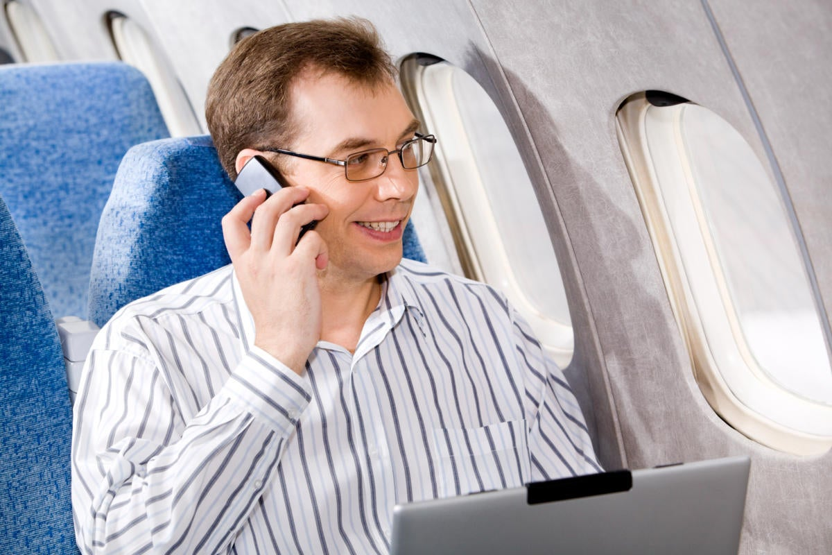 talking on the phone in a plane