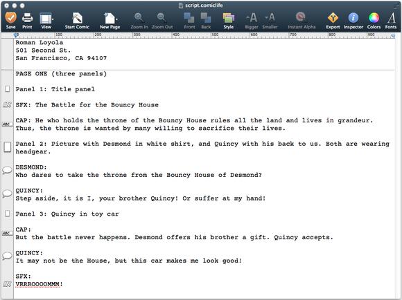 Comic Life 3 Script Editor