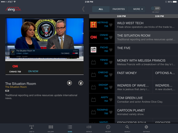 Slingplayer 3.0 iPad interface