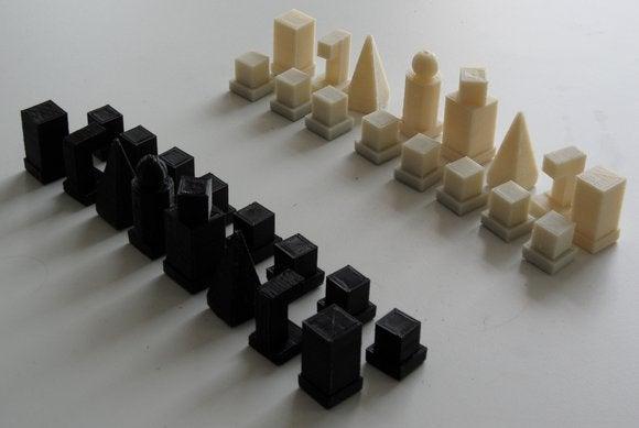 3d printed bauhaus chess set