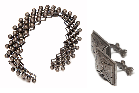 two pieces of 3d printed jewlery
