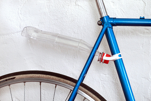 attachment to make soda bottle into a bike fender