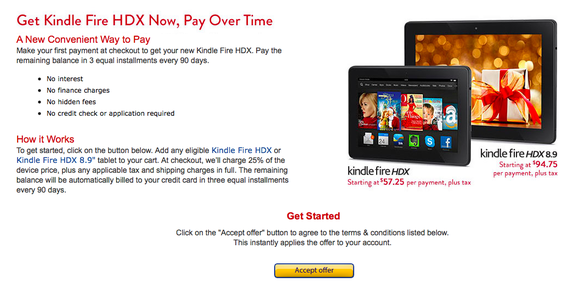 Kindle fire hdx installments