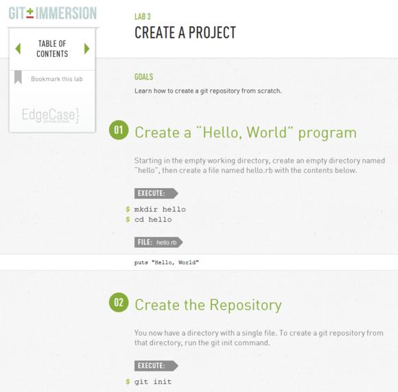 Git Immersion screenshot