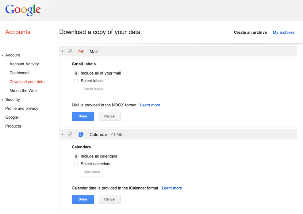Google (finally) lets you download your Gmail and Calendar