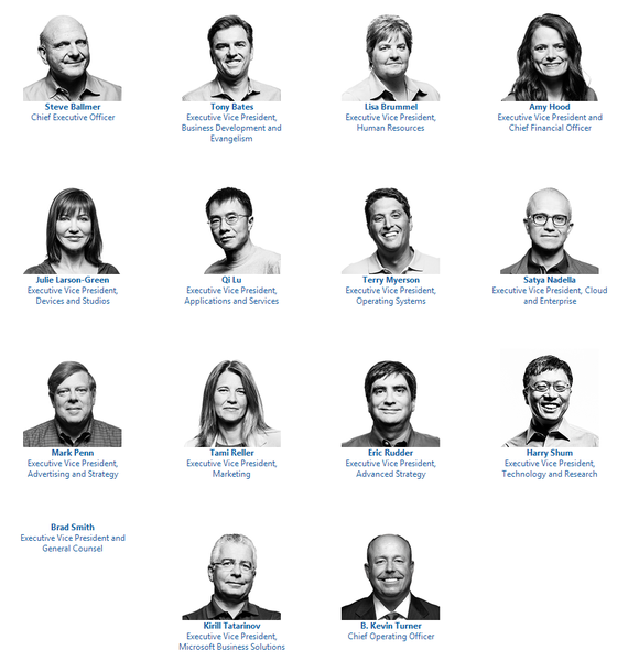 microsoft senior executive team 2013