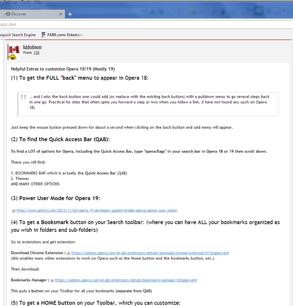 Opera 18 screenshot To get bookmarks, download an extension