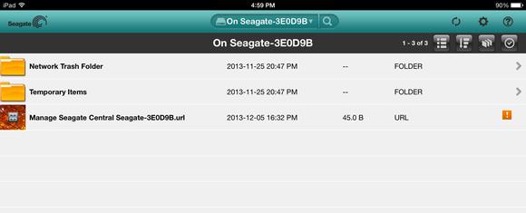 Seagate Media iPad app