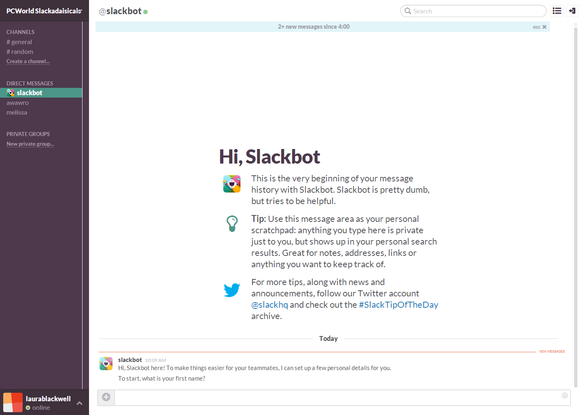 slack welcome slackbot