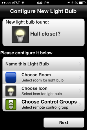 tcp app configure light bulb