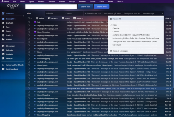 yahoo mail preview all