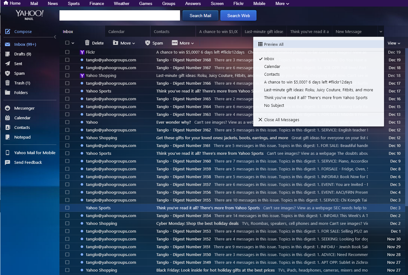 how to delete all messages at once from yahoo mail
