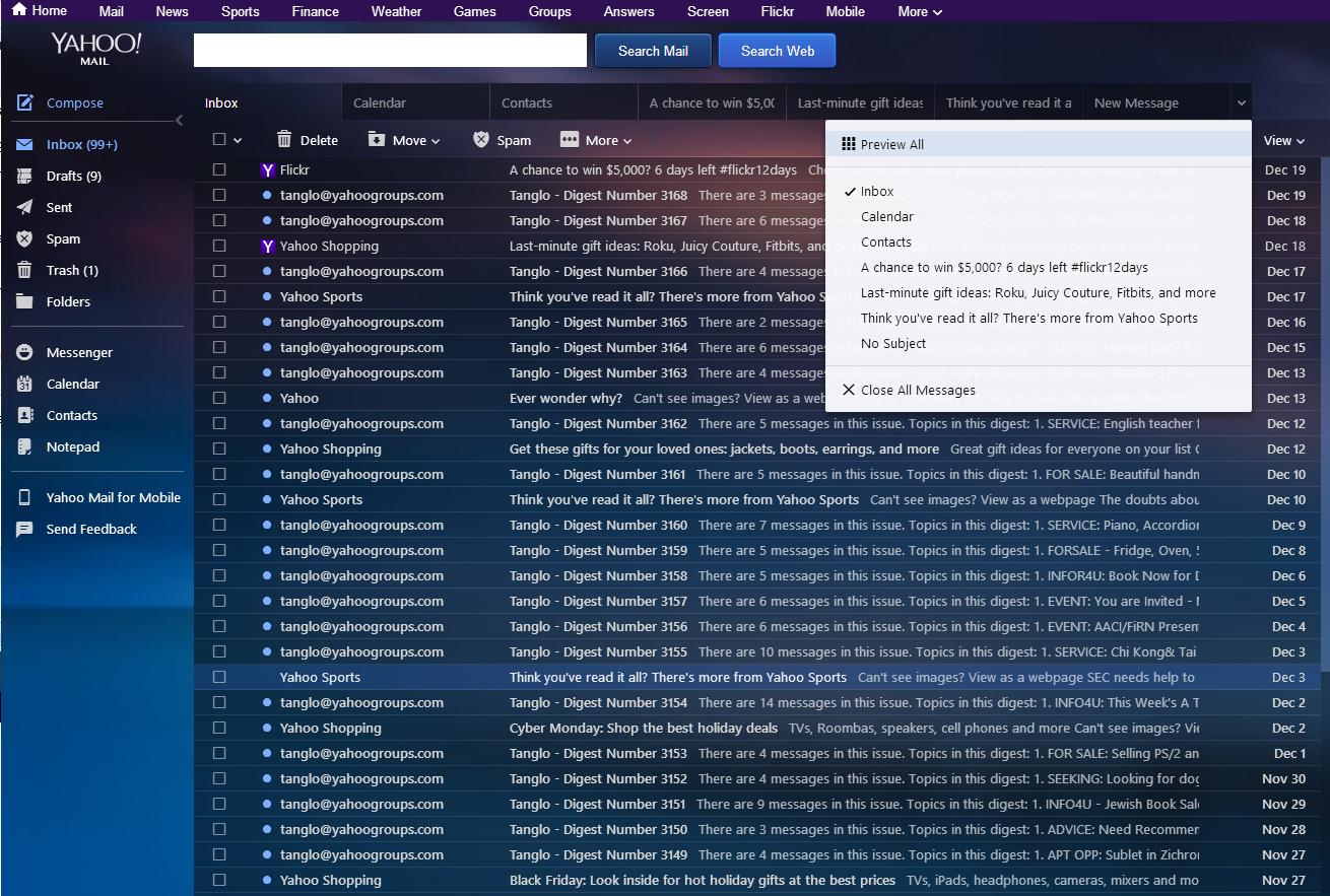 Tabs Return To Yahoo Mail