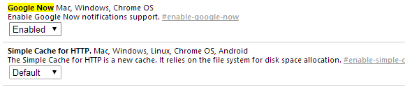 chrome google now enabled