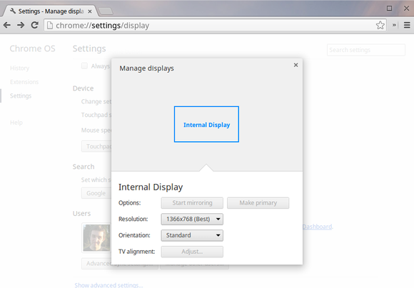 chromebook display options