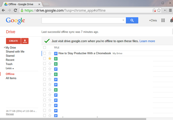 chromebook drive offline